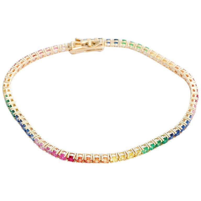 14 Karat Yellow Gold Rainbow Sapphire Bracelet For Sale
