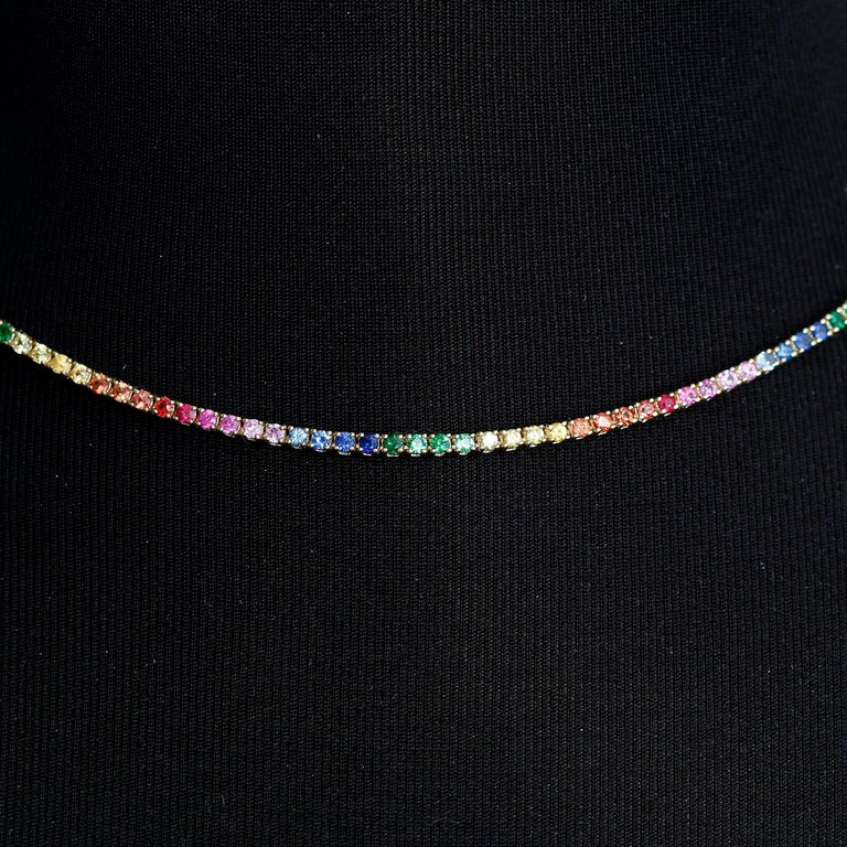 14 Karat Yellow Gold Rainbow Sapphire Necklace In New Condition In Dallas, TX