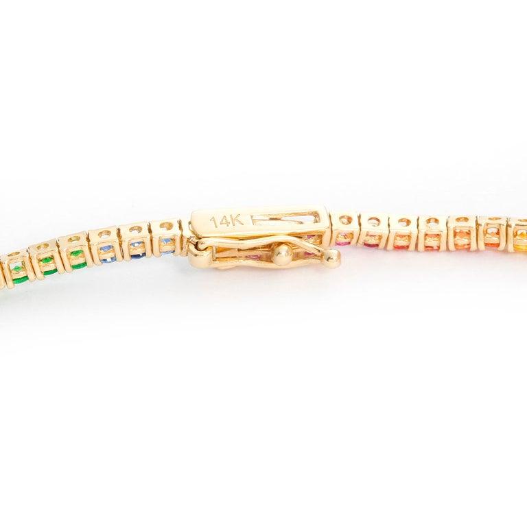 Women's 14 Karat Yellow Gold Rainbow Sapphire Necklace