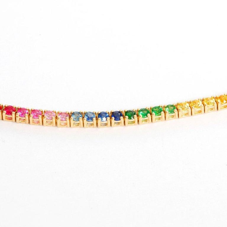14 Karat Yellow Gold Rainbow Sapphire Necklace 1
