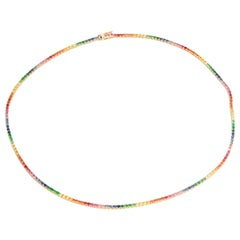 14 Karat Yellow Gold Rainbow Sapphire Necklace