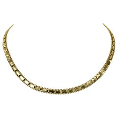 14 Karat Yellow Gold Riccio Collar Chain Necklace