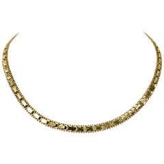 14 Karat Yellow Gold Riccio Collar Link Necklace