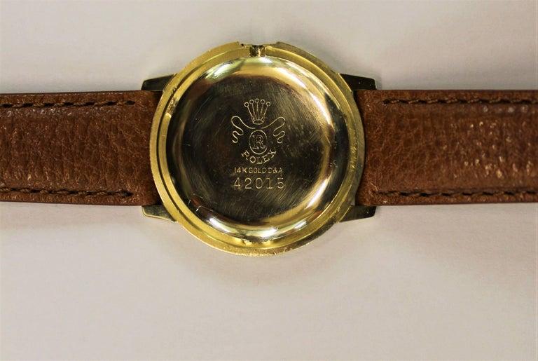 14-Karat Yellow Gold Rolex Men's Dress Watch For Sale 8