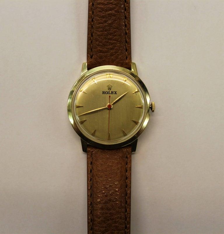 Swiss 14-Karat Yellow Gold Rolex Men's Dress Watch For Sale