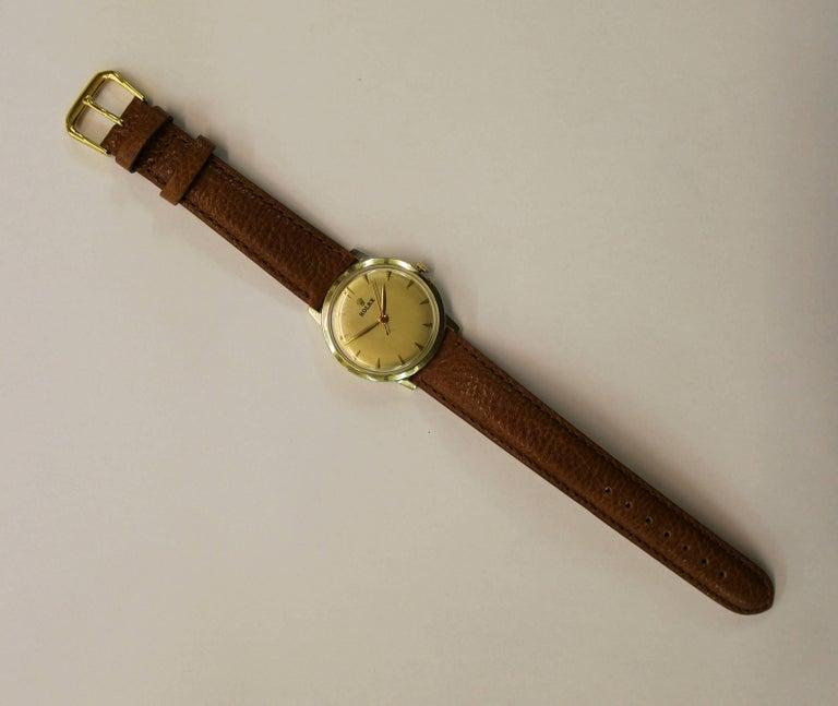 Mid-20th Century 14-Karat Yellow Gold Rolex Men's Dress Watch For Sale