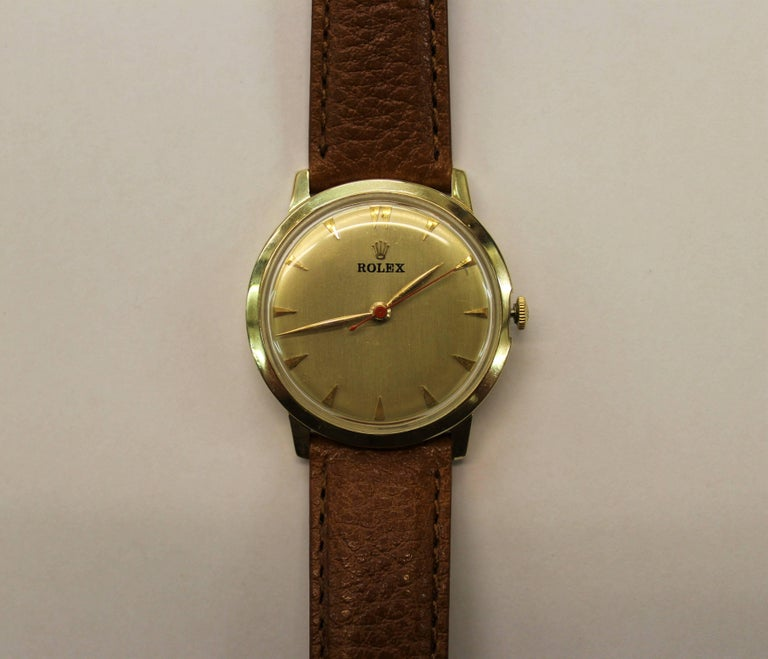 14-Karat Yellow Gold Rolex Men's Dress Watch For Sale 1