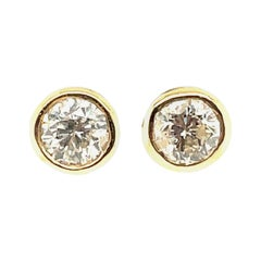 14K Yellow Gold Round Brilliant-Cut Diamond Earrings