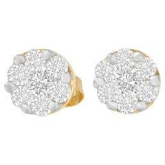 14K Yellow Gold .75 Carat Round-Cut Diamond Cluster Earrings