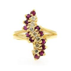 14 Karat Yellow Gold Ruby 0.50 Carat Diamond Ring