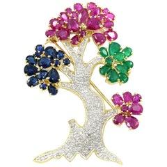 14K Yellow Gold Ruby 12.4cttw Diamond 0.60cttw Emerald Sapphire Tree Brooch