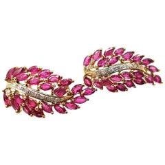 "14 Karat Yellow Gold Ruby and Diamond ""Leaf"" Earrings"