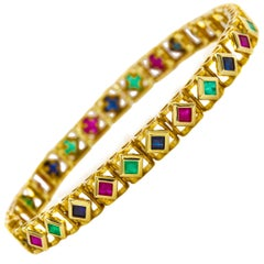 """14K Yellow Gold Ruby, Emerald and Sapphire Line Bracelet, 7"""" long"""