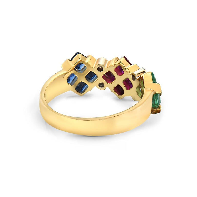 14 Karat Yellow Gold Ruby Sapphire Emerald and Diamond Ring In New Condition For Sale In New York, NY