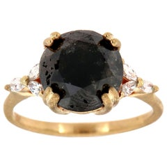 14K Yellow Gold Rustice Earthy Salt and Pepper Diamond Ring Center: 5.12 Carat