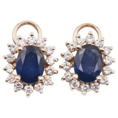14k Yellow Gold Sapphire and Diamond Halo Earrings
