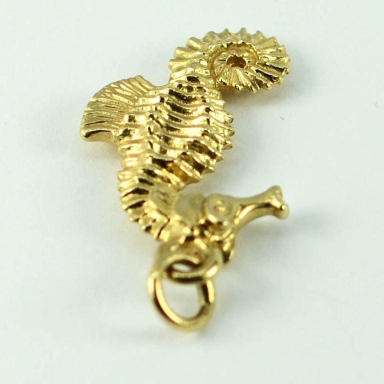 Women's 14 Karat Yellow Gold Seahorse Charm Pendant For Sale