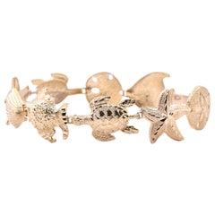 14 Karat Yellow Gold Seashell Bracelet