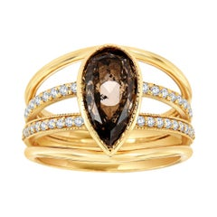 14k Yellow Gold Simoneta Pear Salt and Pepper Diamond Ring 'Center:2.22- Carat'