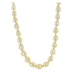 14k Yellow Gold South Sea Golden Baroque Pearl Necklace 12x13mm
