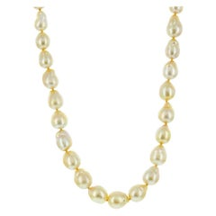 14K Yellow Gold South Sea Golden Baroque Pearl Necklace 10x11mm