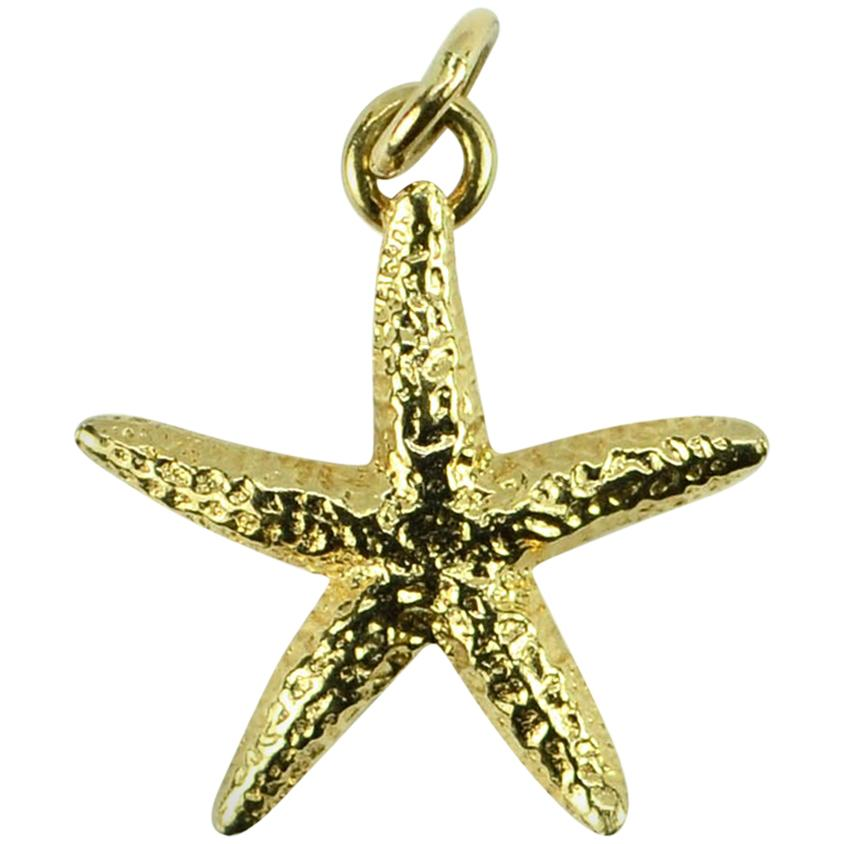 14 Karat Yellow Gold Starfish Charm Pendant