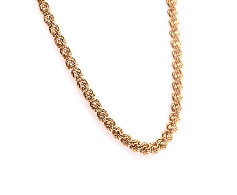 Material: 14k yellow gold Dimensions: necklace is 18-inches long and measures 6mm in width Weight: 13.6 grams
