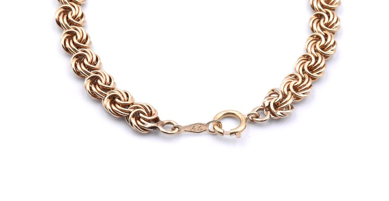Men's 14 Karat Yellow Gold Swirl Link Necklace For Sale
