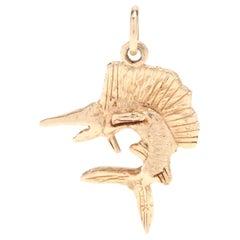 14 Karat Yellow Gold Sword Fish Charm, Pendant