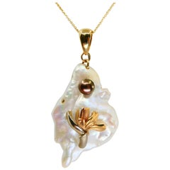 14k Yellow Gold Tahitian and Mother of Pearl Pendant Drop Necklace, High Luster