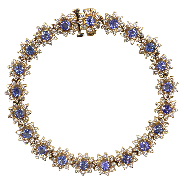14K Yellow Gold Tanzanite & Diamond Bracelet