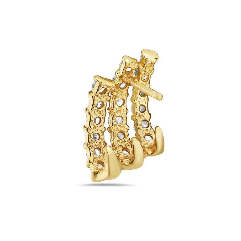 Contemporary 14 Karat Yellow Gold Three-Row Diamond Earrings For Sale