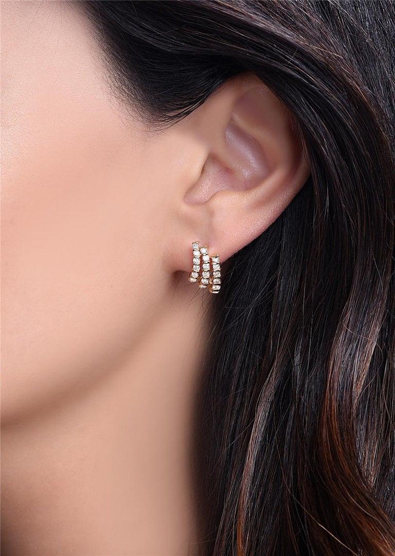 Round Cut 14 Karat Yellow Gold Three-Row Diamond Earrings For Sale