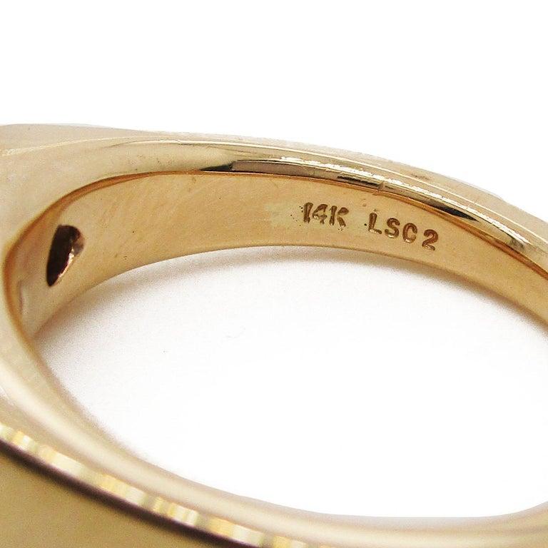 Women's or Men's 14 Karat Yellow Gold Three-Stone Leo Diamond Ring For Sale