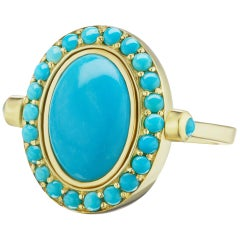 14 Karat Yellow Gold Turquoise Cabochon and Halo Cocktail Ring
