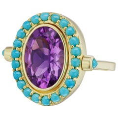 14 Karat Yellow Gold Turquoise Pave Halo and Amethyst Cocktail Ring