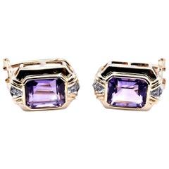 14 Karat Yellow Gold Vintage Amethyst and Diamond Earrings