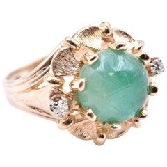 14 Karat Yellow Gold Vintage Jade and Diamond Ring