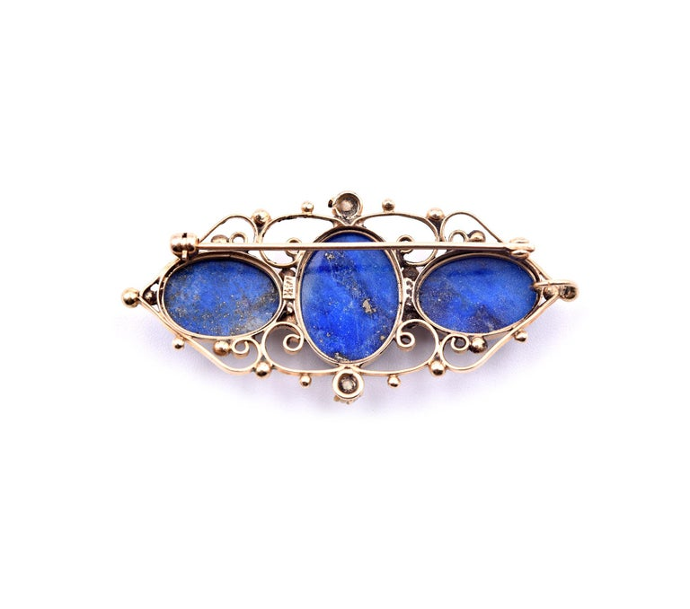 14 Karat Yellow Gold Vintage Lapis Pin In Excellent Condition For Sale In Scottsdale, AZ