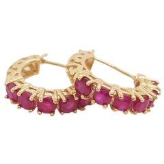 14 Karat Yellow Gold Vintage Style Ruby Small Hoop Huggie Earrings