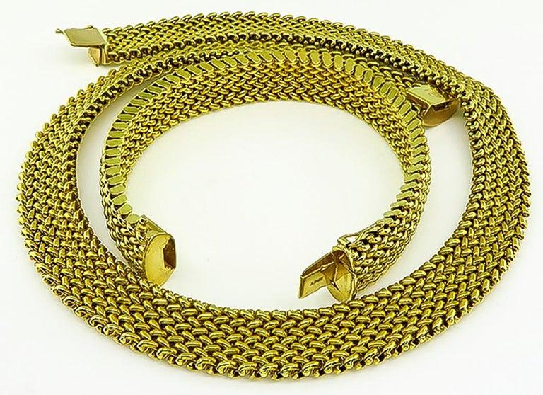 Women's or Men's 14 Karat Yellow Gold Weave Necklace and Bracelet Set For Sale