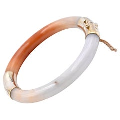 14 Karat Yellow Gold White and Burnt Orange Jade Bangle Bracelet