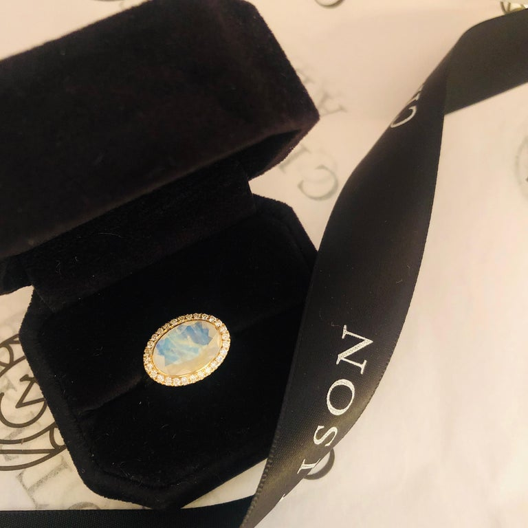14 Karat Yellow Gold White Enamel Rainbow Moonstone and Diamond Halo Ring For Sale 2