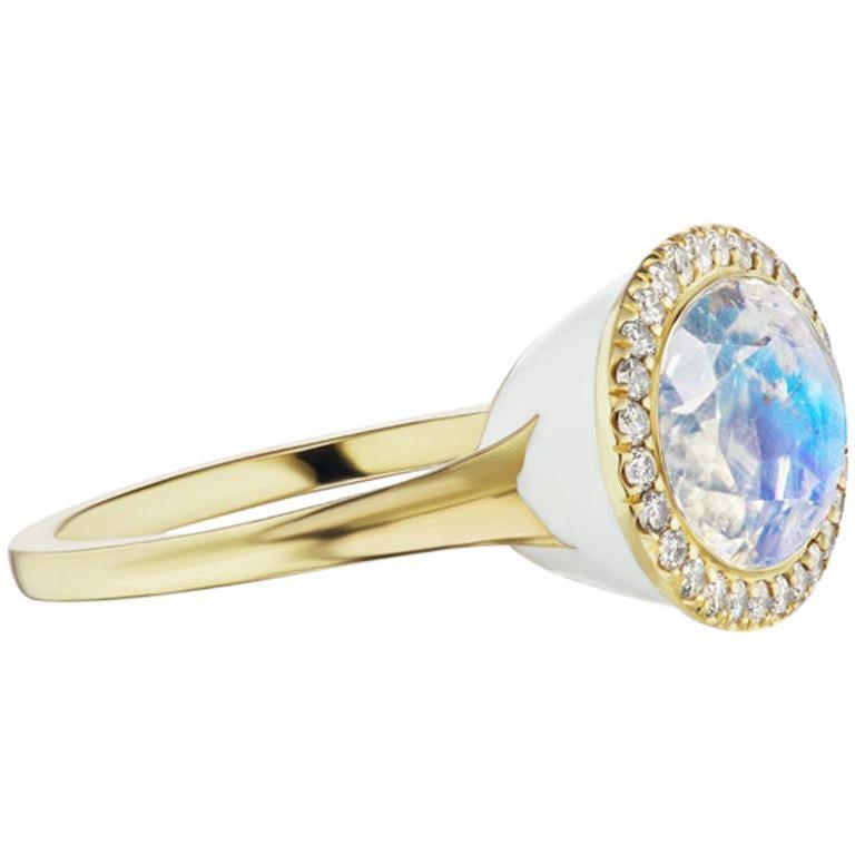 14 Karat Yellow Gold White Enamel Rainbow Moonstone and Diamond Halo Ring For Sale