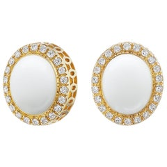 14 Karat Yellow Gold White Onyx Cabochon and Diamond Halo Stud Earring