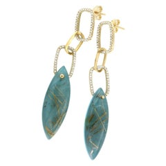 14k Yellow Gold with Rutilate Quartz Turquoise and White Diamonds Earrings