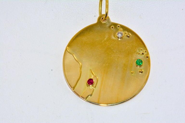 14 Karat Yellow Gold World Traveler Gemstone and Diamonds Charm Bracelet For Sale 2