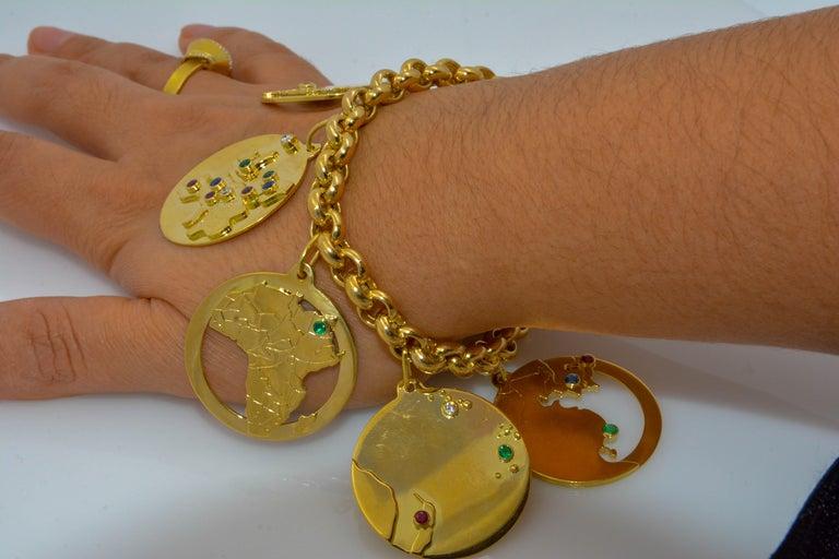 14 Karat Yellow Gold World Traveler Gemstone and Diamonds Charm Bracelet For Sale 3
