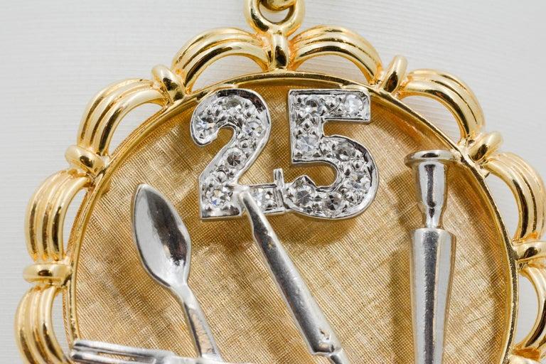 14 Karat Yellow/White Gold 25th Anniversary 'Silverware' Charm For Sale 1