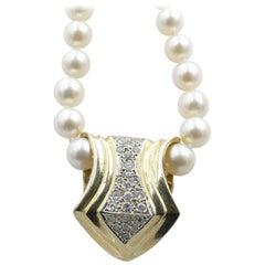 14K Yellow & White Gold Diamond Slider Pendant 'shown on Vintage Pearl Necklace'